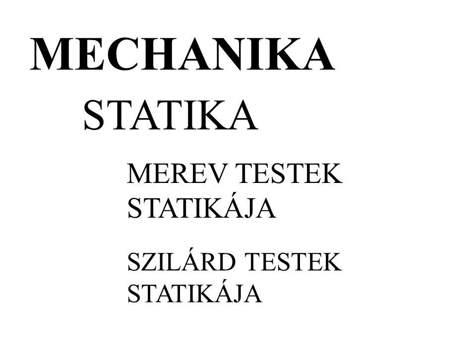 MECHANIKA MEREV TESTEK STATIKÁJA SZILÁRD TESTEK STATIKÁJA STATIKA