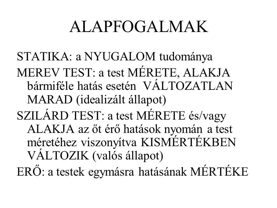 ALAPFOGALMAK STATIKA: a NYUGALOM tudománya MEREV TEST: a test MÉRETE, ALAKJA bármiféle hatás esetén VÁLTOZATLAN MARAD (idealizált állapot) SZILÁRD TES