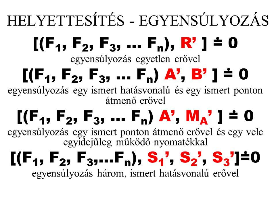 HELYETTESÍTÉS - EGYENSÚLYOZÁS [(F 1, F 2, F 3,... F n ), R' ] = 0 egyensúlyozás egyetlen erővel [(F 1, F 2, F 3,... F n ) A', B' ] = 0 egyensúlyozás e