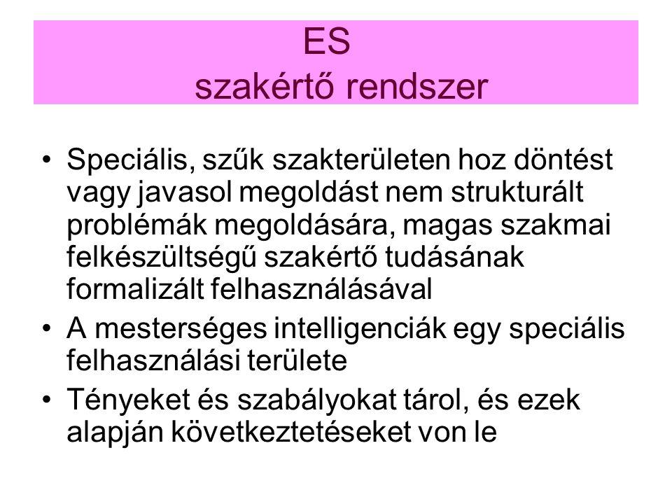 ES szakértő rendszer Speciális, szűk szakterületen hoz döntést vagy javasol megoldást nem strukturált problémák megoldására, magas szakmai felkészülts