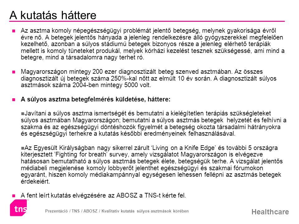 Healthcare Prezentáció / TNS / ABOSZ / Kvalitatív kutatás súlyos asztmások körében Összefoglalás – 1.
