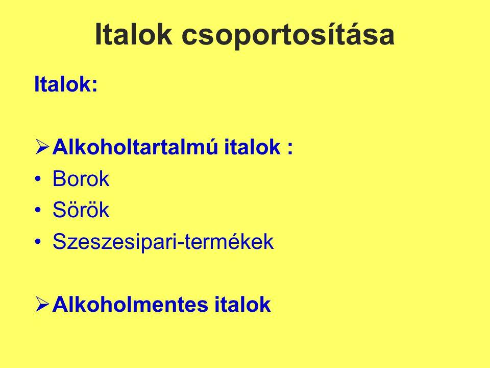 Szénsavmentes üdítők I. Gyümölcs- és zöldséglevek Szűrt gyümölcslevek, pl.