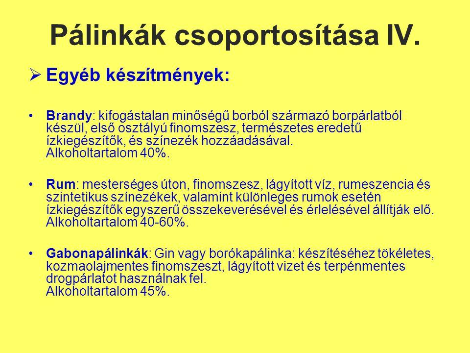 Pálinkák csoportosítása IV.