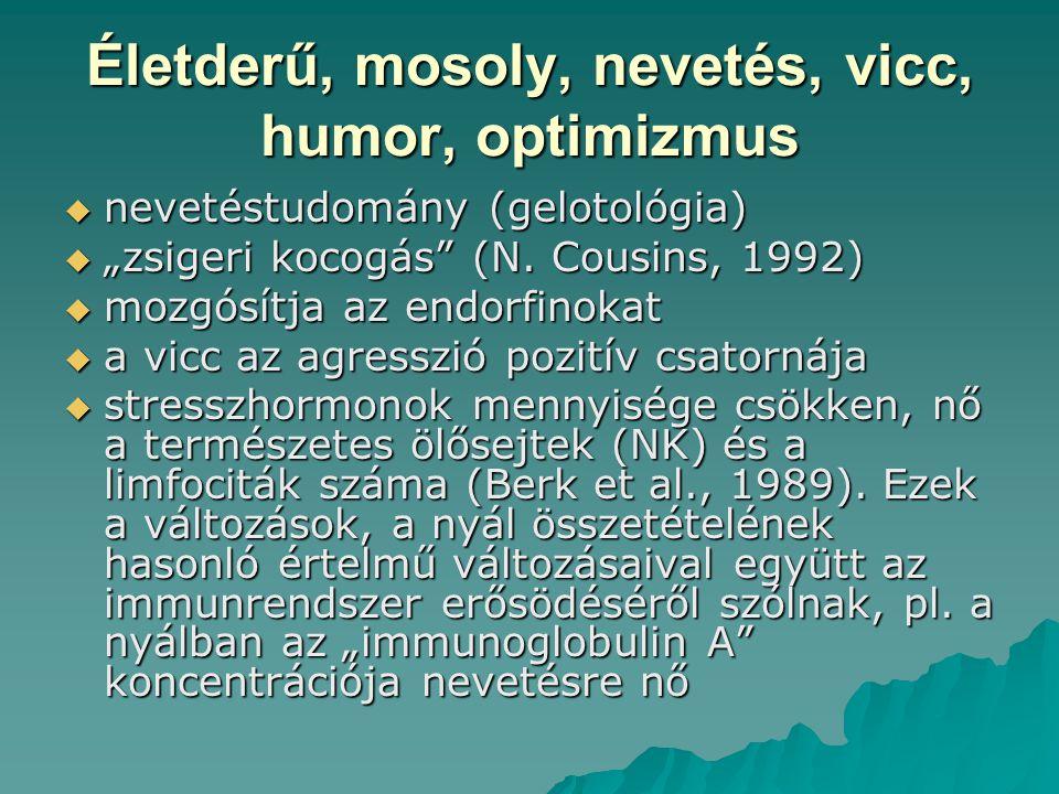 """Életderű, mosoly, nevetés, vicc, humor, optimizmus  nevetéstudomány (gelotológia)  """"zsigeri kocogás"""" (N. Cousins, 1992)  mozgósítja az endorfinokat"""