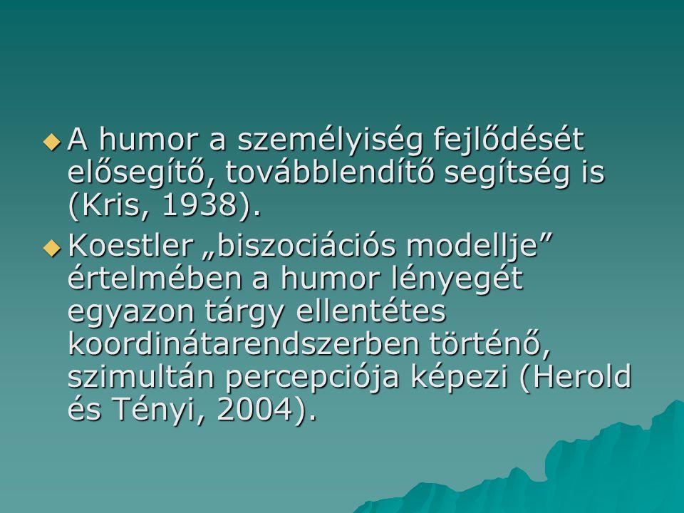""" A humor a személyiség fejlődését elősegítő, továbblendítő segítség is (Kris, 1938).  Koestler """"biszociációs modellje"""" értelmében a humor lényegét e"""