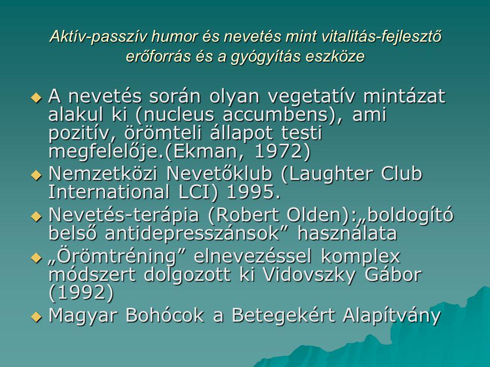 Aktív-passzív humor és nevetés mint vitalitás-fejlesztő erőforrás és a gyógyítás eszköze  A nevetés során olyan vegetatív mintázat alakul ki (nucleus accumbens), ami pozitív, örömteli állapot testi megfelelője.(Ekman, 1972)  Nemzetközi Nevetőklub (Laughter Club International LCI) 1995.