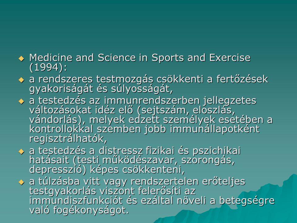  Medicine and Science in Sports and Exercise (1994):  a rendszeres testmozgás csökkenti a fertőzések gyakoriságát és súlyosságát,  a testedzés az immunrendszerben jellegzetes változásokat idéz elő (sejtszám, eloszlás, vándorlás), melyek edzett személyek esetében a kontrollokkal szemben jobb immunállapotként regisztrálhatók,  a testedzés a distressz fizikai és pszichikai hatásait (testi működészavar, szorongás, depresszió) képes csökkenteni,  a túlzásba vitt vagy rendszertelen erőteljes testgyakorlás viszont felerősíti az immundiszfunkciót és ezáltal növeli a betegségre való fogékonyságot.