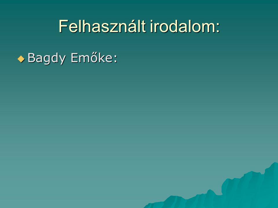 Felhasznált irodalom:  Bagdy Emőke: