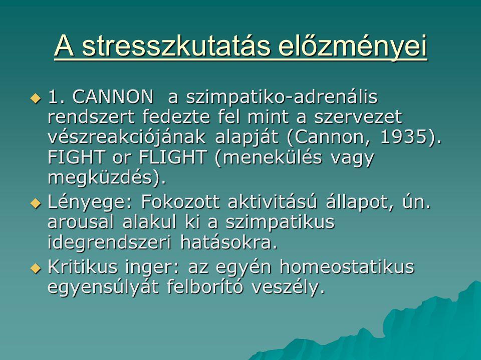 A stresszkutatás előzményei  1. CANNON a szimpatiko-adrenális rendszert fedezte fel mint a szervezet vészreakciójának alapját (Cannon, 1935). FIGHT o