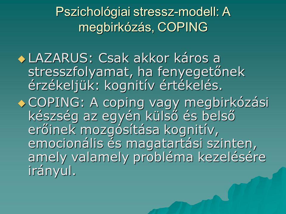 Pszichológiai stressz-modell: A megbirkózás, COPING  LAZARUS: Csak akkor káros a stresszfolyamat, ha fenyegetőnek érzékeljük: kognitív értékelés.