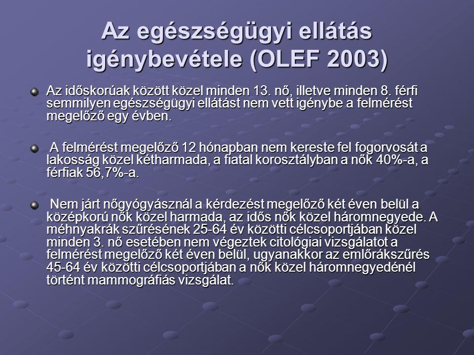 Az egészségügyi ellátás igénybevétele (OLEF 2003) Az időskorúak között közel minden 13. nő, illetve minden 8. férfi semmilyen egészségügyi ellátást ne