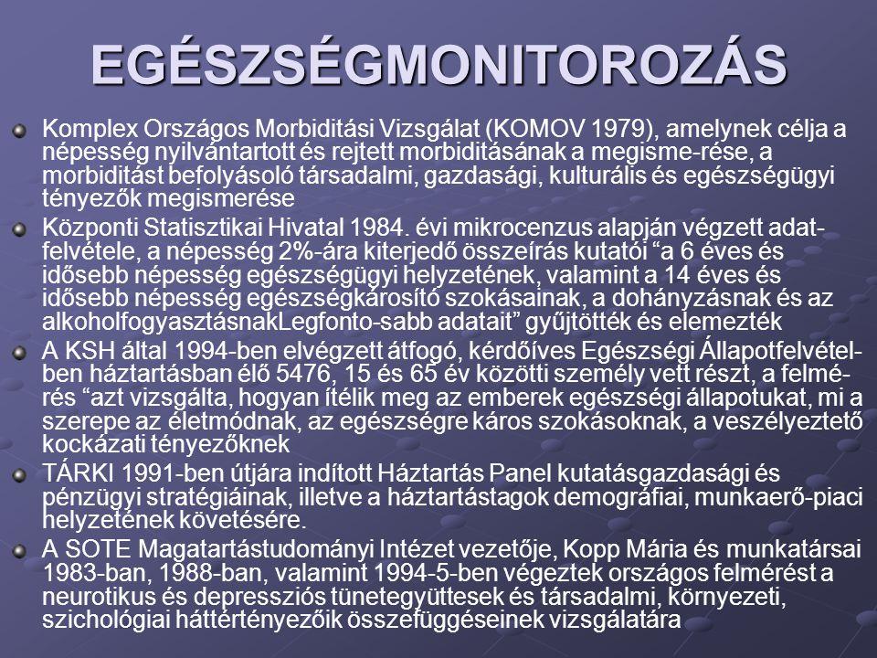 EGÉSZSÉGMONITOROZÁS Komplex Országos Morbiditási Vizsgálat (KOMOV 1979), amelynek célja a népesség nyilvántartott és rejtett morbiditásának a megisme-