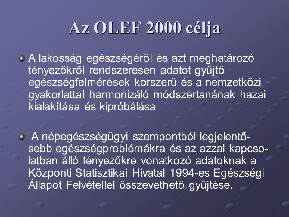 Az OLEF 2000 célja A lakosság egészségéről és azt meghatározó tényezőkről rendszeresen adatot gyűjtő egészségfelmérések korszerű és a nemzetközi gyako