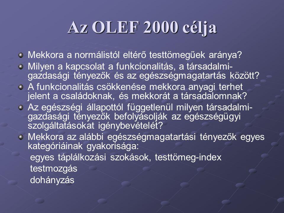 Az OLEF 2000 célja Mekkora a normálistól eltérő testtömegűek aránya? Milyen a kapcsolat a funkcionalitás, a társadalmi- gazdasági tényezők és az egész