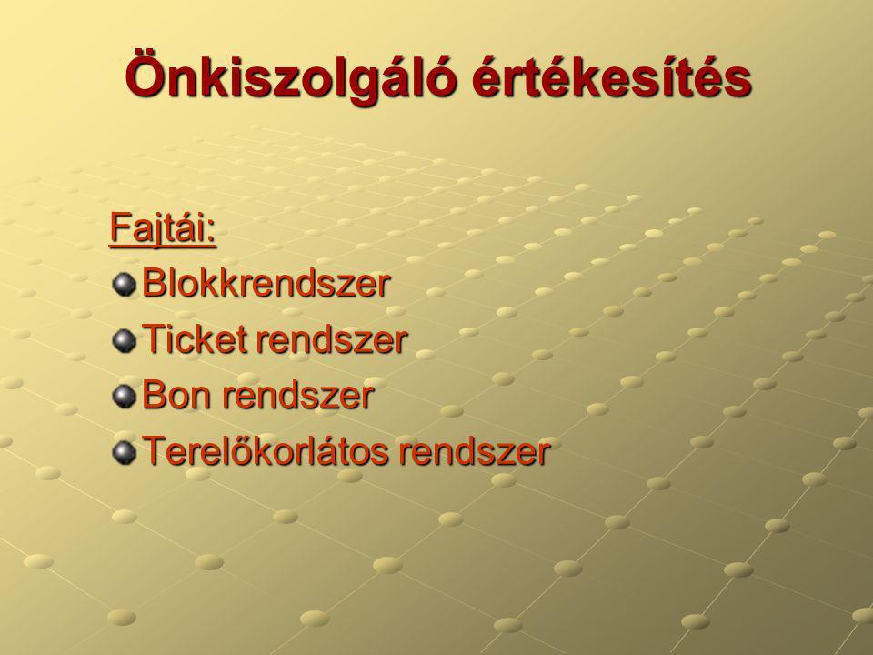 Önkiszolgáló értékesítés Fajtái:Blokkrendszer Ticket rendszer Bon rendszer Terelőkorlátos rendszer