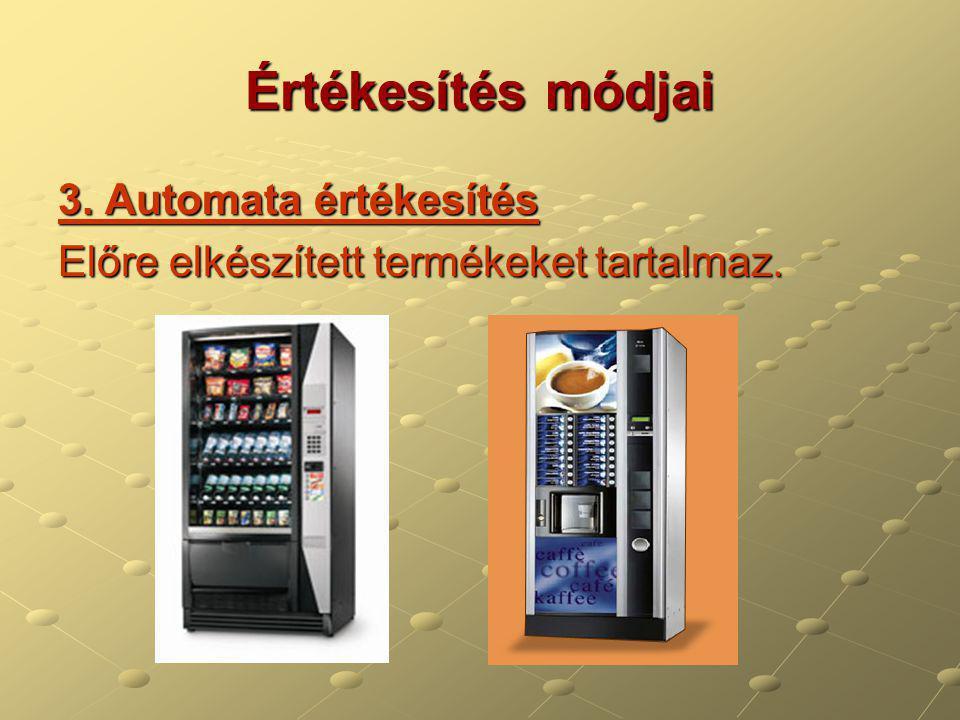Értékesítés módjai 3. Automata értékesítés Előre elkészített termékeket tartalmaz.