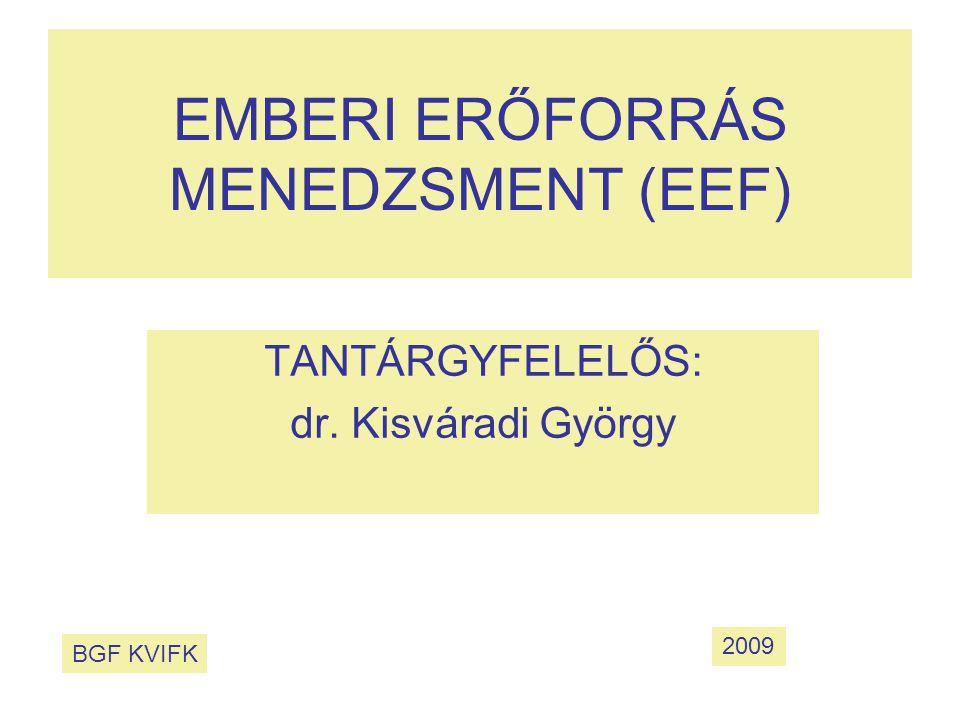 EMBERI ERŐFORRÁS MENEDZSMENT (EEF) TANTÁRGYFELELŐS: dr. Kisváradi György BGF KVIFK 2009