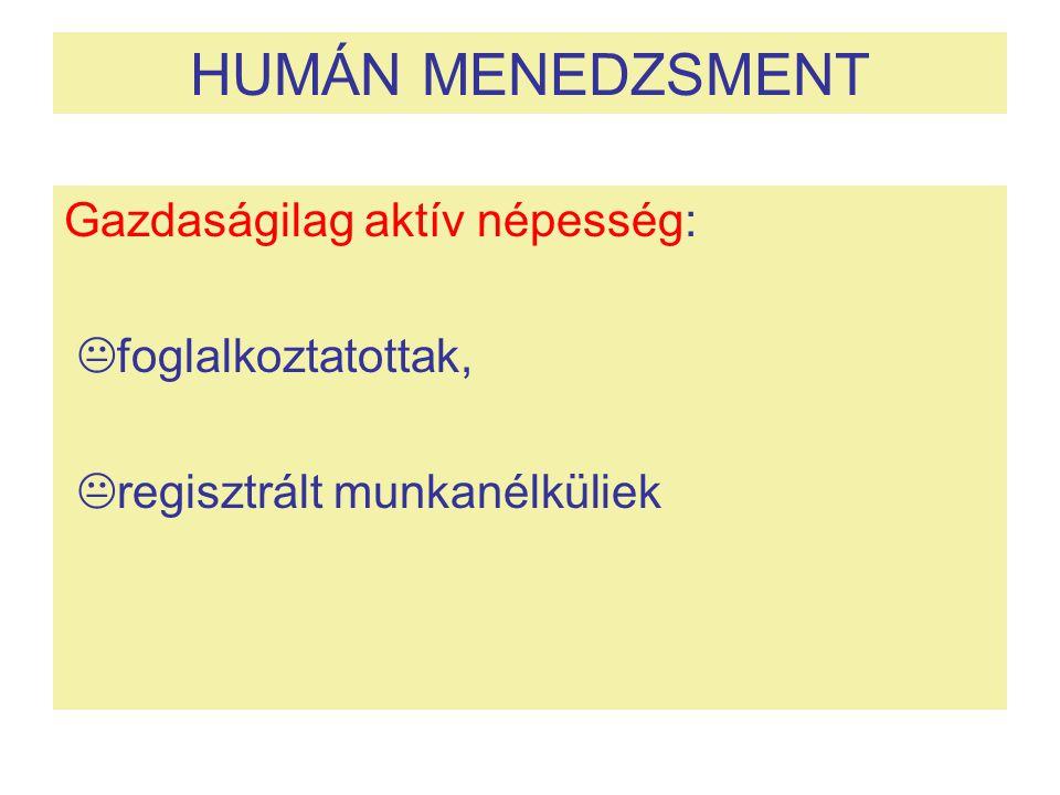HUMÁN MENEDZSMENT Gazdaságilag aktív népesség:  foglalkoztatottak,  regisztrált munkanélküliek