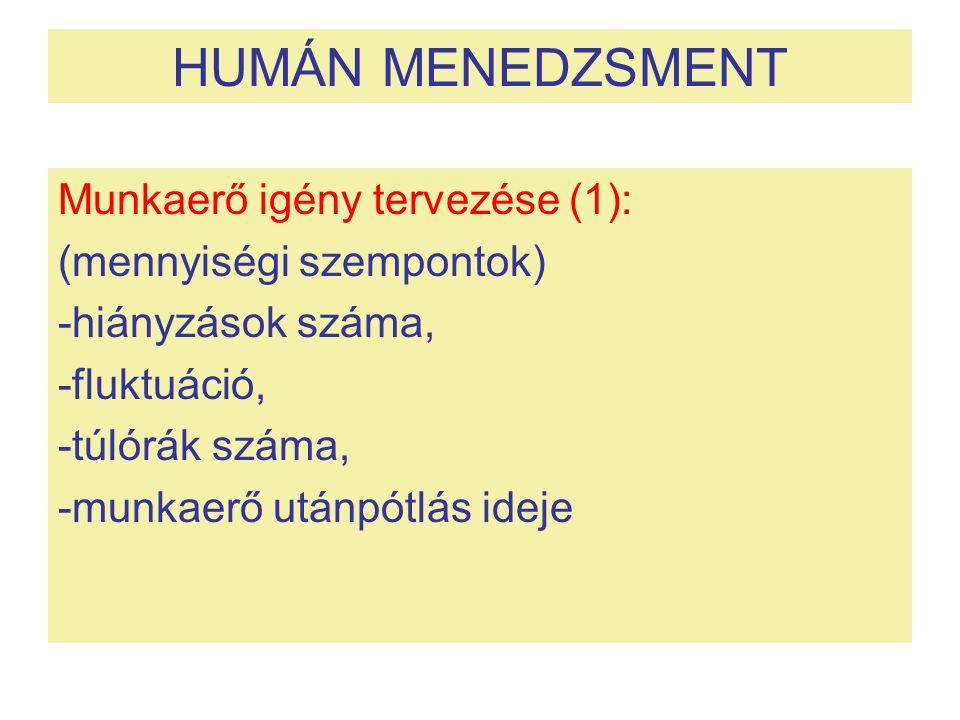 HUMÁN MENEDZSMENT Munkaerő igény tervezése (1): (mennyiségi szempontok) -hiányzások száma, -fluktuáció, -túlórák száma, -munkaerő utánpótlás ideje