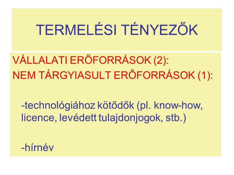 TERMELÉSI TÉNYEZŐK VÁLLALATI ERŐFORRÁSOK (2): NEM TÁRGYIASULT ERŐFORRÁSOK (1): -technológiához kötődők (pl. know-how, licence, levédett tulajdonjogok,