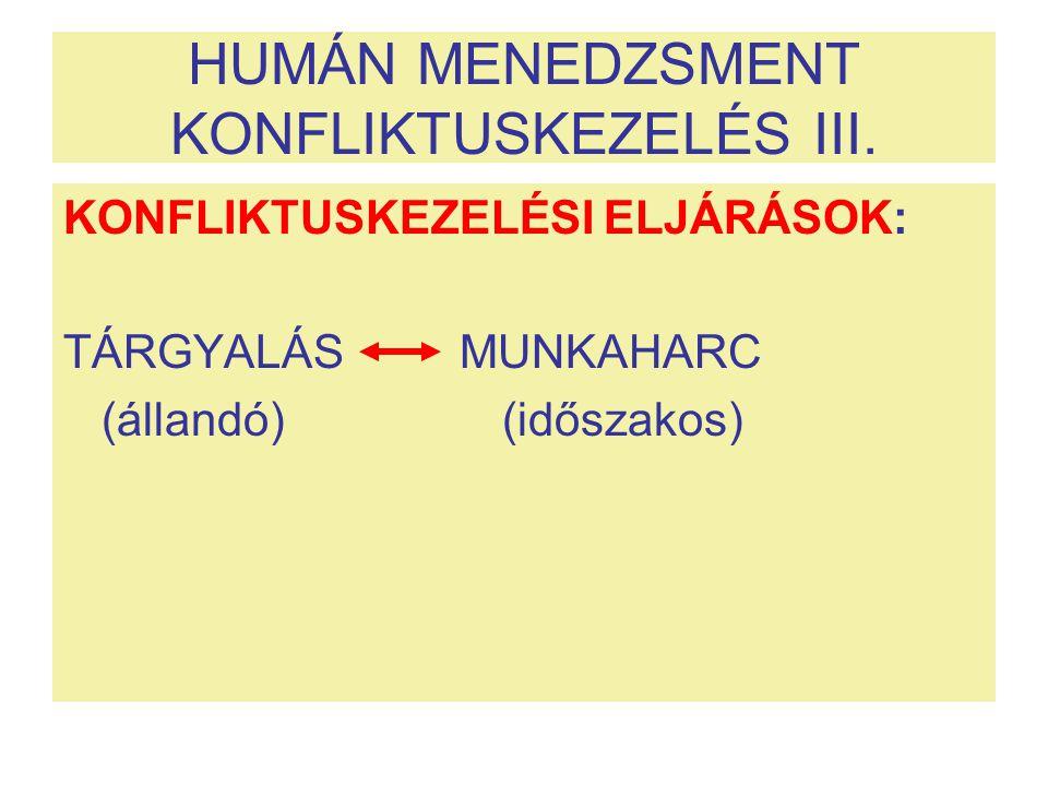 HUMÁN MENEDZSMENT KONFLIKTUSKEZELÉS III. KONFLIKTUSKEZELÉSI ELJÁRÁSOK: TÁRGYALÁS MUNKAHARC (állandó) (időszakos)