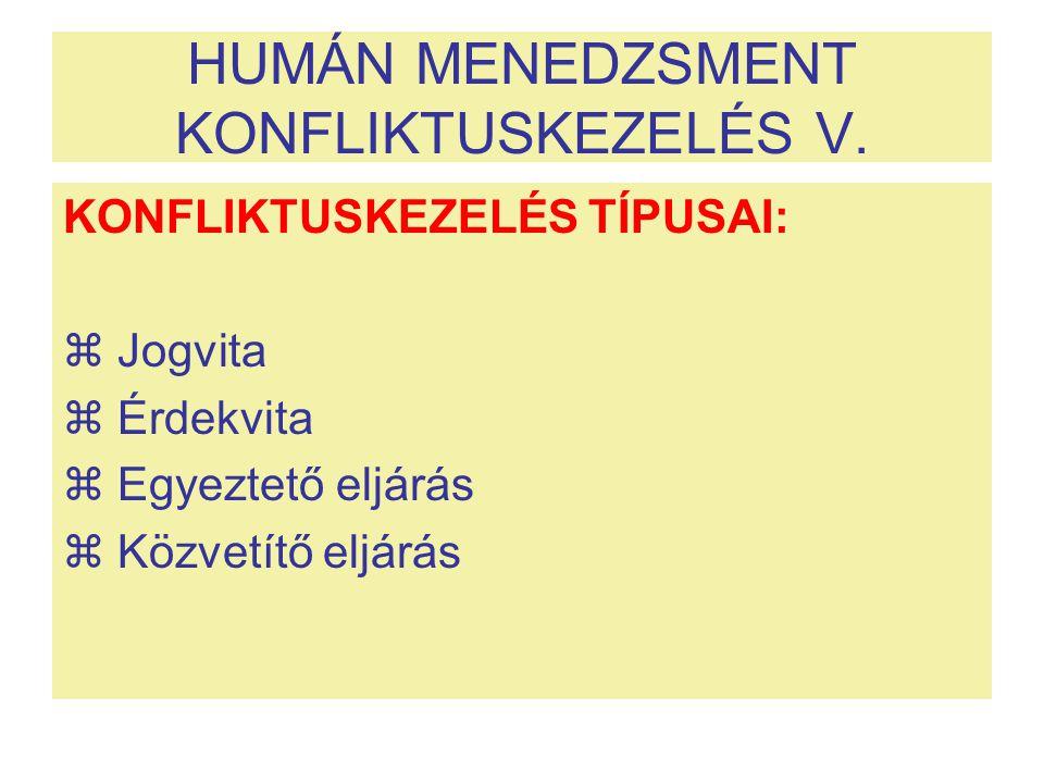 HUMÁN MENEDZSMENT KONFLIKTUSKEZELÉS V. KONFLIKTUSKEZELÉS TÍPUSAI:  Jogvita  Érdekvita  Egyeztető eljárás  Közvetítő eljárás
