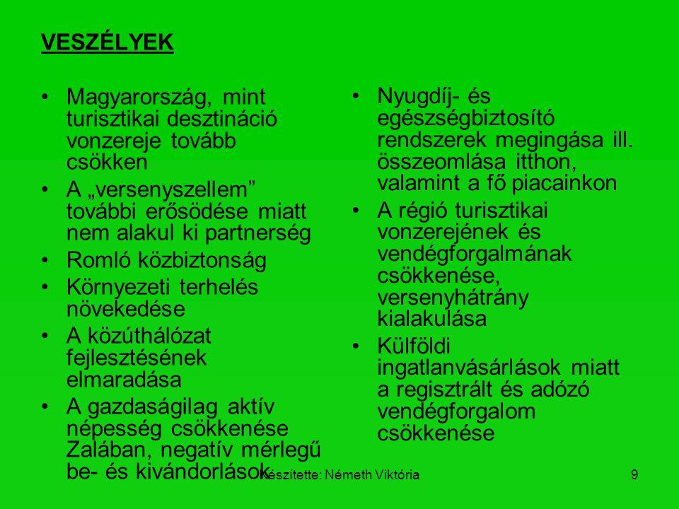 """Készítette: Németh Viktória9 VESZÉLYEK Magyarország, mint turisztikai desztináció vonzereje tovább csökken A """"versenyszellem"""" további erősödése miatt"""