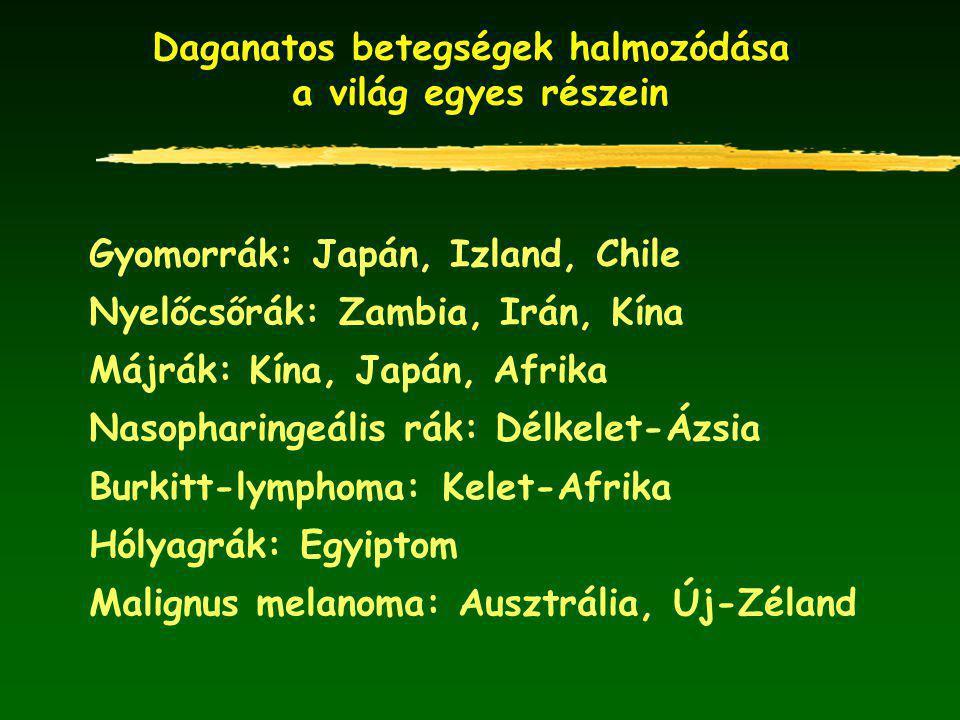 Daganatos betegségek halmozódása a világ egyes részein Gyomorrák: Japán, Izland, Chile Nyelőcsőrák: Zambia, Irán, Kína Májrák: Kína, Japán, Afrika Nasopharingeális rák: Délkelet-Ázsia Burkitt-lymphoma: Kelet-Afrika Hólyagrák: Egyiptom Malignus melanoma: Ausztrália, Új-Zéland