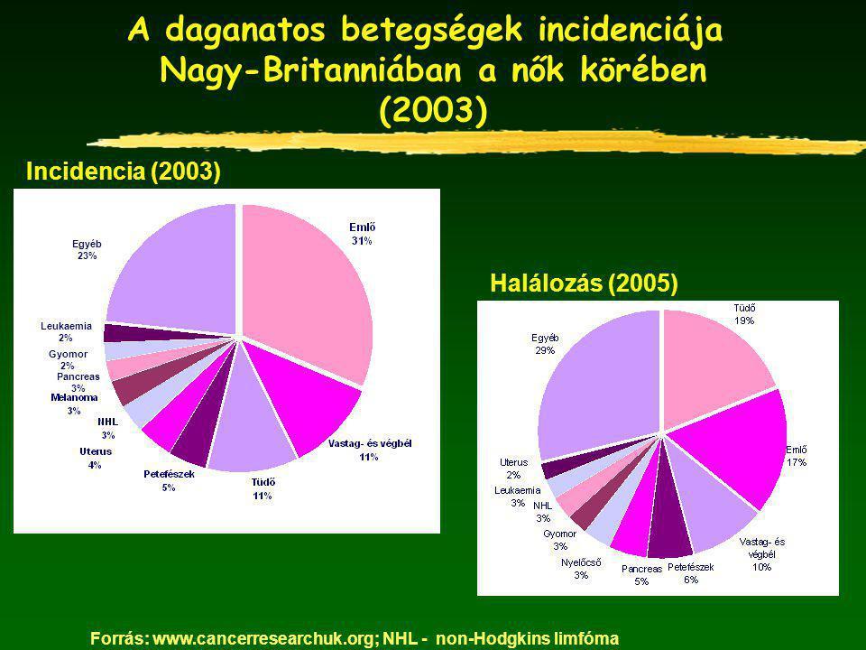 A daganatos betegségek incidenciája Nagy-Britanniában a nők körében (2003) Egyéb 23% Leukaemia 2% Gyomor 2% Pancreas 3% Forrás: www.cancerresearchuk.org; NHL - non-Hodgkins limfóma Incidencia (2003) Halálozás (2005)