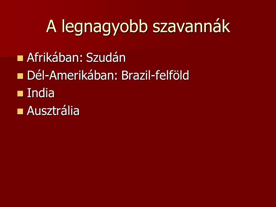 A legnagyobb szavannák Afrikában: Szudán Afrikában: Szudán Dél-Amerikában: Brazil-felföld Dél-Amerikában: Brazil-felföld India India Ausztrália Ausztrália