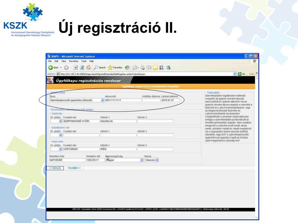 Új regisztráció II.