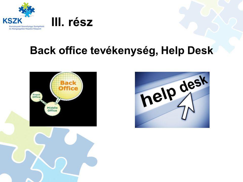 III. rész Back office tevékenység, Help Desk