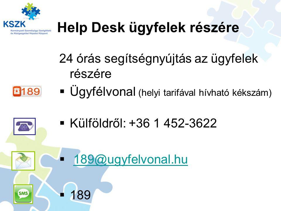 Help Desk ügyfelek részére 24 órás segítségnyújtás az ügyfelek részére  Ügyfélvonal (helyi tarifával hívható kékszám)  Külföldről: +36 1 452-3622  189@ugyfelvonal.hu189@ugyfelvonal.hu  189