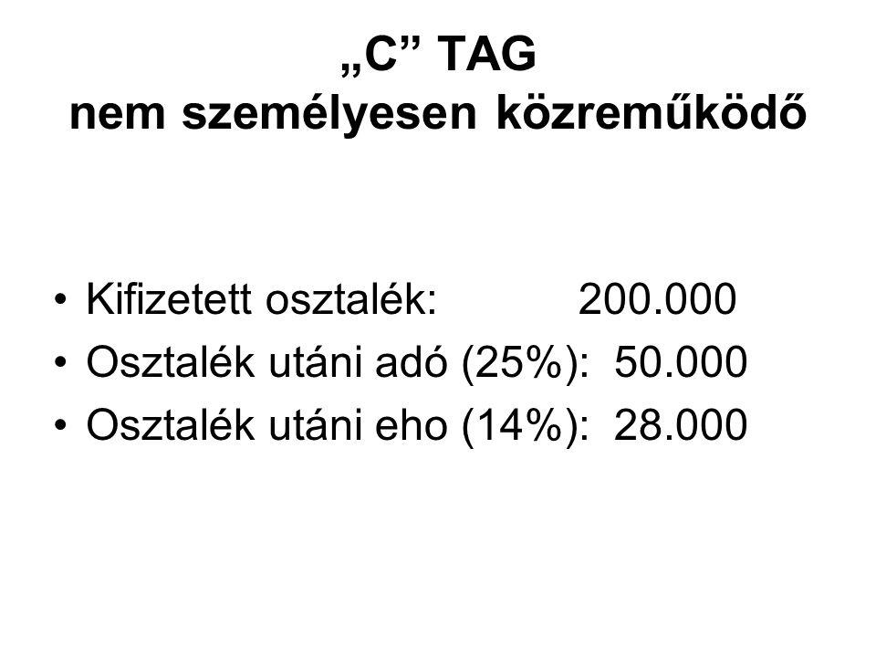 """""""C TAG nem személyesen közreműködő Kifizetett osztalék: 200.000 Osztalék utáni adó (25%): 50.000 Osztalék utáni eho (14%): 28.000"""