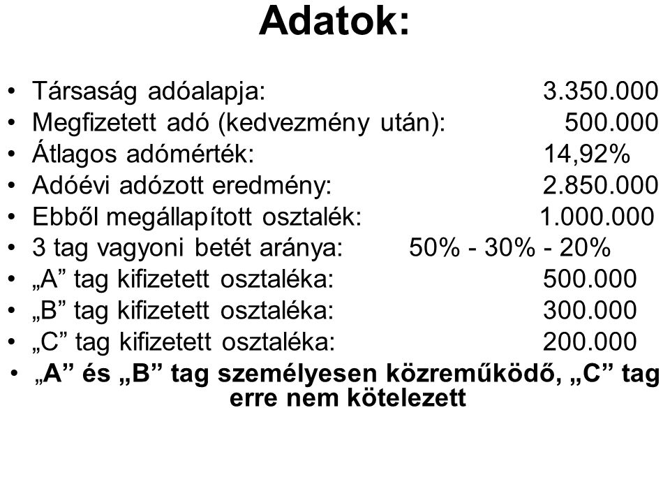 Adatok: Társaság adóalapja:3.350.000 Megfizetett adó (kedvezmény után): 500.000 Átlagos adómérték: 14,92% Adóévi adózott eredmény:2.850.000 Ebből megá