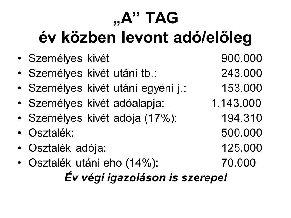 """""""A"""" TAG év közben levont adó/előleg Személyes kivét 900.000 Személyes kivét utáni tb.: 243.000 Személyes kivét utáni egyéni j.:153.000 Személyes kivét"""