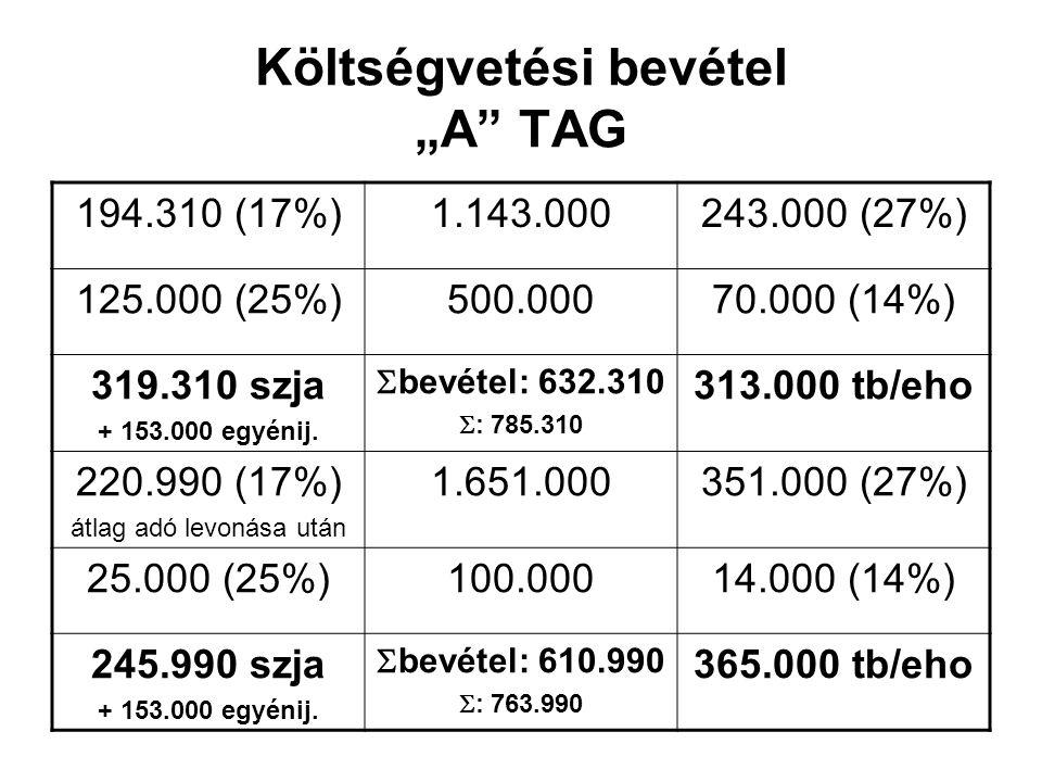 """Költségvetési bevétel """"A TAG 194.310 (17%)1.143.000243.000 (27%) 125.000 (25%)500.00070.000 (14%) 319.310 szja + 153.000 egyénij."""
