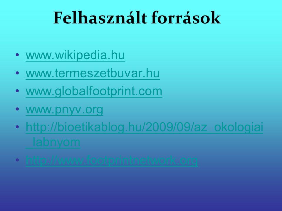 Felhasznált források www.wikipedia.hu www.termeszetbuvar.hu www.globalfootprint.com www.pnyv.org http://bioetikablog.hu/2009/09/az_okologiai _labnyomh
