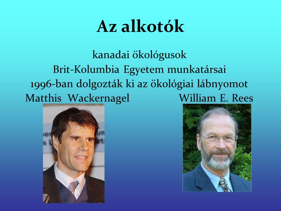 Az alkotók kanadai ökológusok Brit-Kolumbia Egyetem munkatársai 1996-ban dolgozták ki az ökológiai lábnyomot Matthis Wackernagel William E. Rees