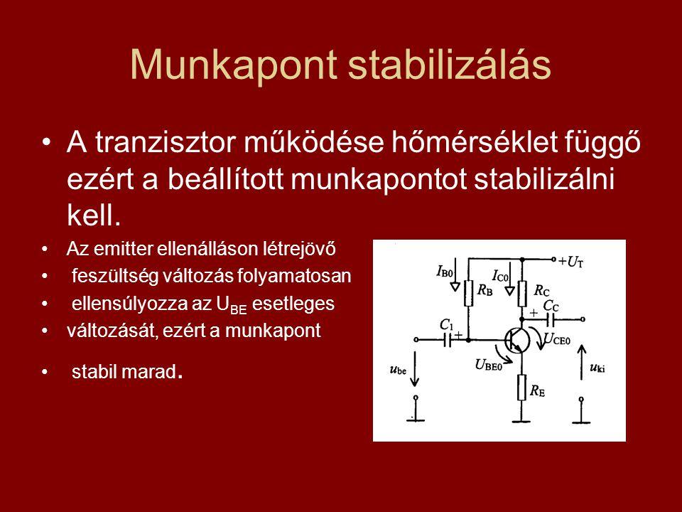 Munkapont stabilizálás A tranzisztor működése hőmérséklet függő ezért a beállított munkapontot stabilizálni kell. Az emitter ellenálláson létrejövő fe