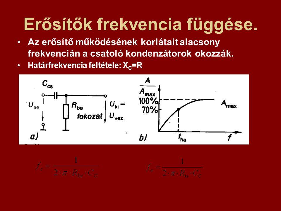 Erősítők frekvencia függése. Az erősítő működésének korlátait alacsony frekvencián a csatoló kondenzátorok okozzák. Határfrekvencia feltétele: X C =R