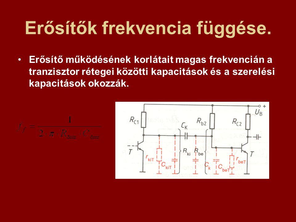 Erősítők frekvencia függése. Erősítő működésének korlátait magas frekvencián a tranzisztor rétegei közötti kapacitások és a szerelési kapacitások okoz