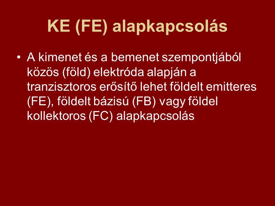 KE (FE) alapkapcsolás A kimenet és a bemenet szempontjából közös (föld) elektróda alapján a tranzisztoros erősítő lehet földelt emitteres (FE), földel