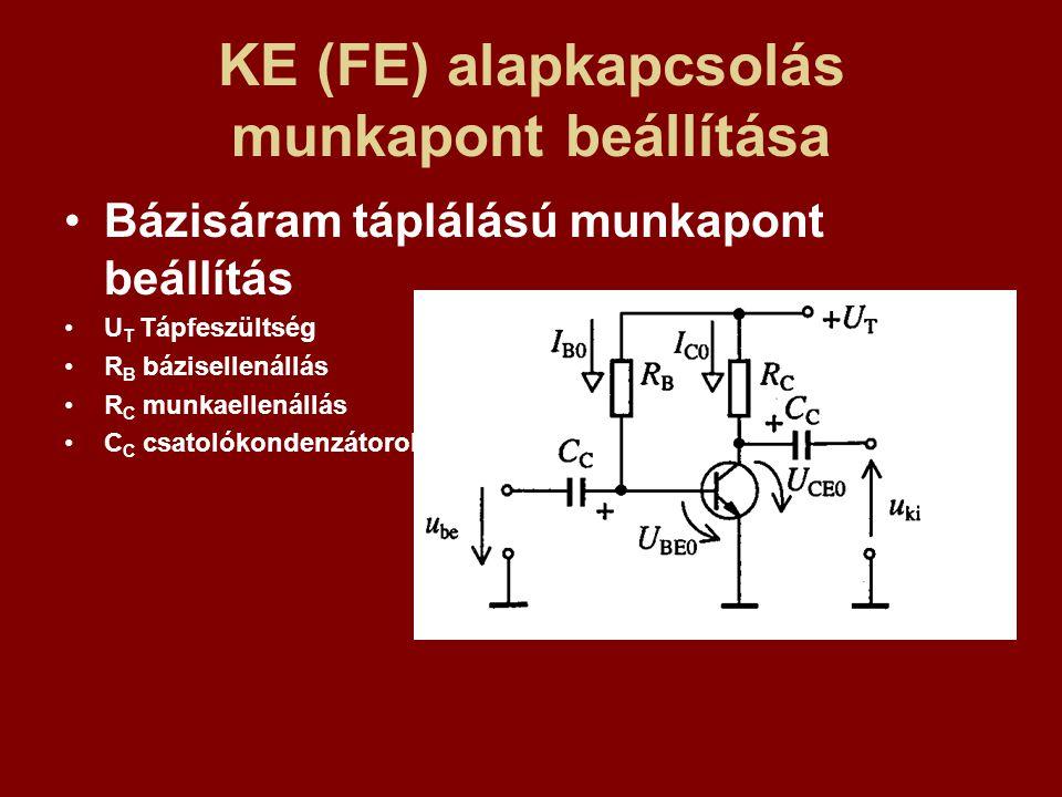 KE (FE) alapkapcsolás munkapont beállítása Bázisáram táplálású munkapont beállítás U T Tápfeszültség R B bázisellenállás R C munkaellenállás C C csato