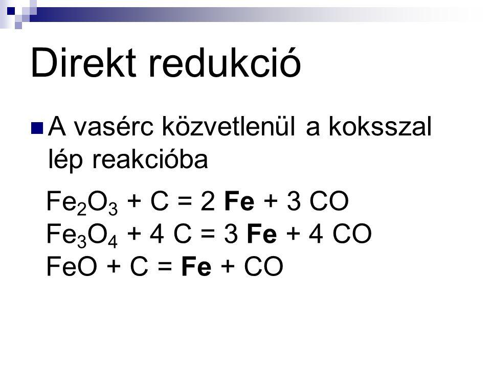 Direkt redukció A vasérc közvetlenül a koksszal lép reakcióba Fe 2 O 3 + C = 2 Fe + 3 CO Fe 3 O 4 + 4 C = 3 Fe + 4 CO FeO + C = Fe + CO