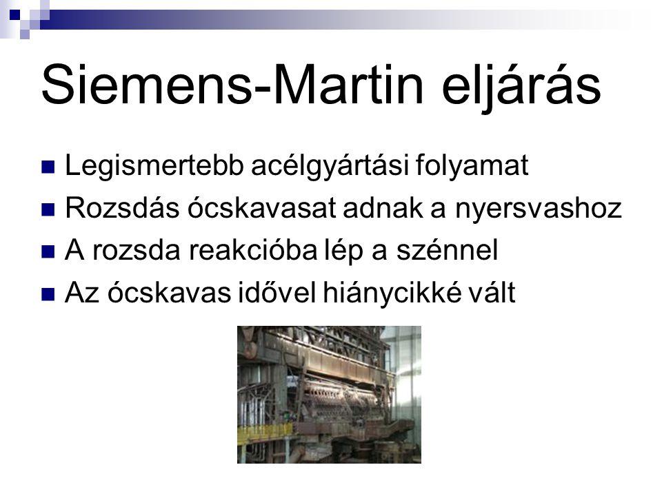 Siemens-Martin eljárás Legismertebb acélgyártási folyamat Rozsdás ócskavasat adnak a nyersvashoz A rozsda reakcióba lép a szénnel Az ócskavas idővel h