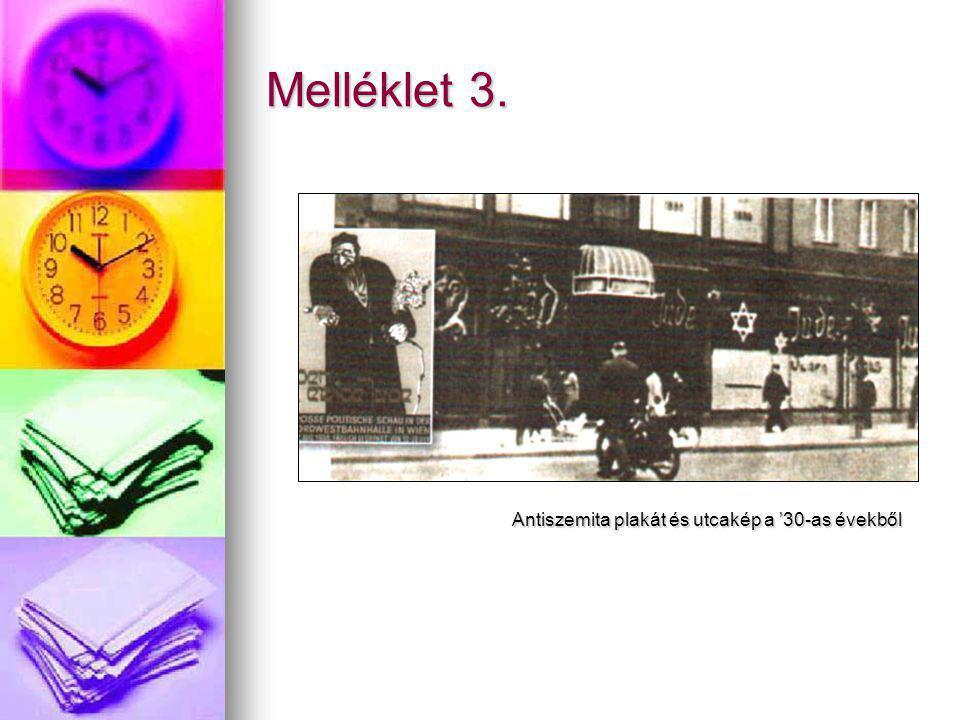 Melléklet 3. Antiszemita plakát és utcakép a '30-as évekből