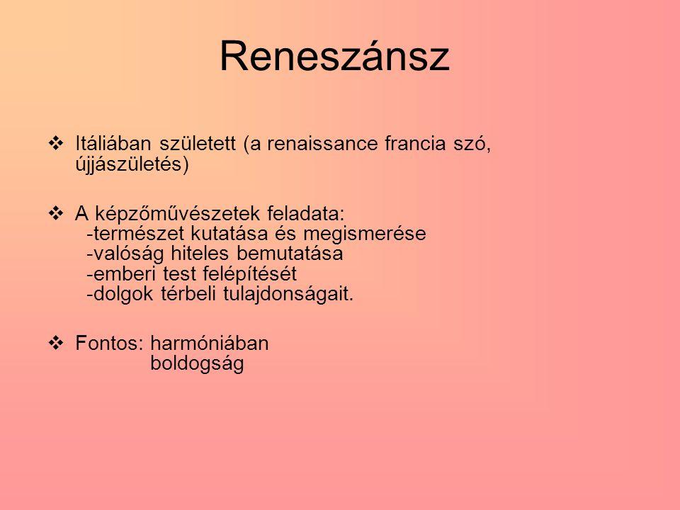 Reneszánsz  Itáliában született (a renaissance francia szó, újjászületés)  A képzőművészetek feladata: -természet kutatása és megismerése -valóság h