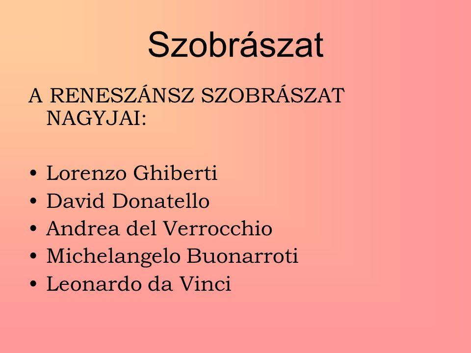 Szobrászat A RENESZÁNSZ SZOBRÁSZAT NAGYJAI: Lorenzo Ghiberti David Donatello Andrea del Verrocchio Michelangelo Buonarroti Leonardo da Vinci