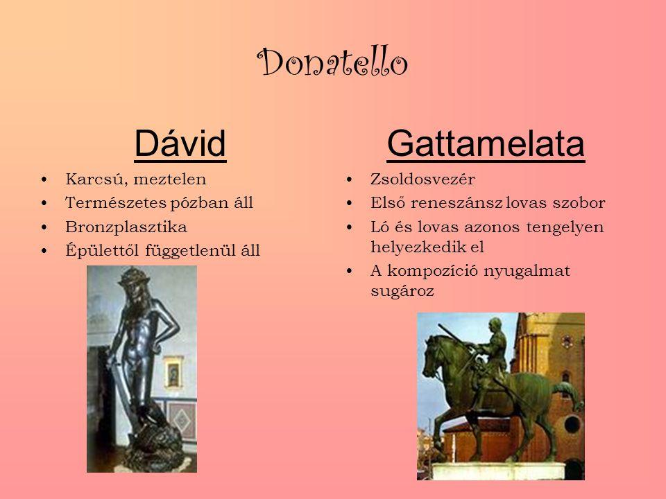 Donatello Dávid Karcsú, meztelen Természetes pózban áll Bronzplasztika Épülettől függetlenül áll Gattamelata Zsoldosvezér Első reneszánsz lovas szobor